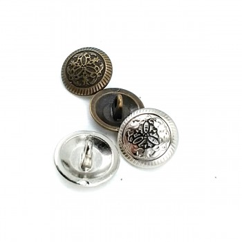 Embroidered Footed Metal Button E 1033 Small 15 mm - 24 size E 1034