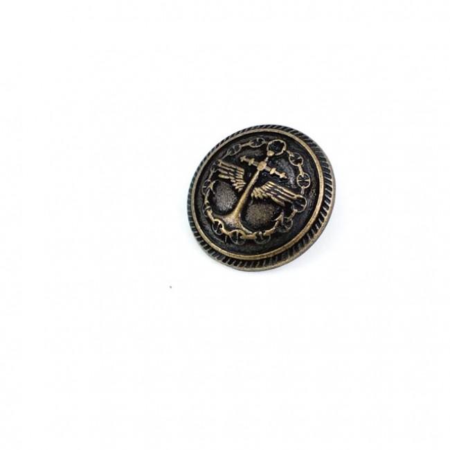 23 mm Kaptan Logolu   Ayaklı düğme metal ( E 1035 Küçüğü ) E 1036