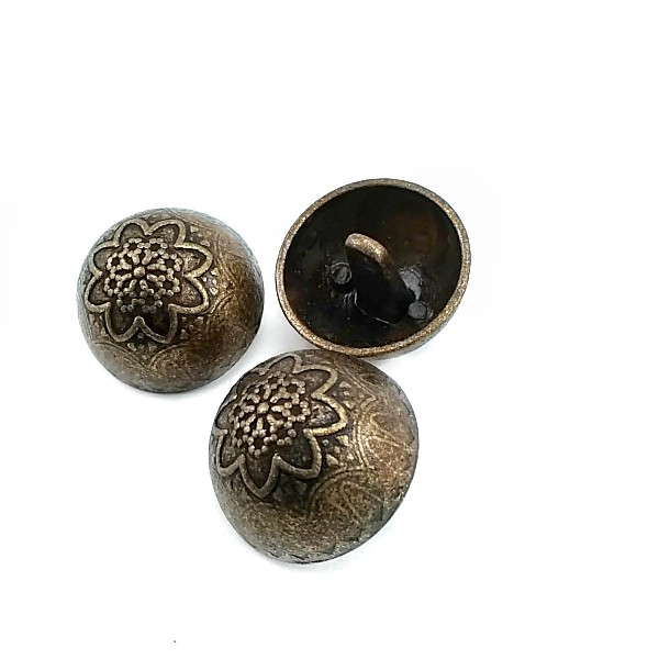 24MM - 39 Boy Floral Patterned Metal Footed Button E 11