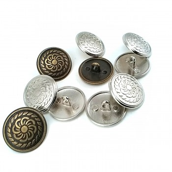 Patterned Metal Foot Button 20 mm - 34 size E 111