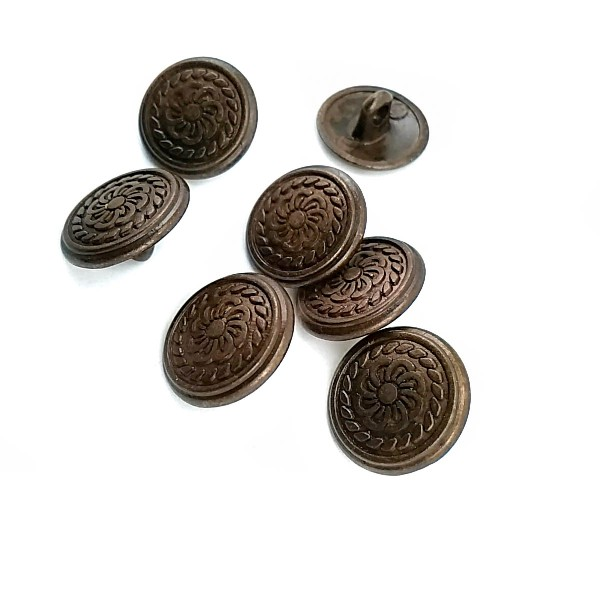 15 mm Flower Patterned Metal Shank Button E 112
