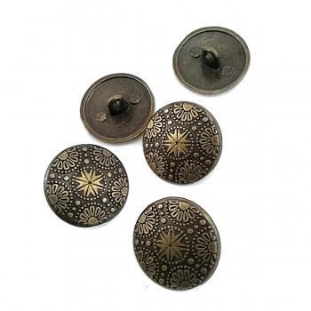 20 mm - 32 L Motif Patterned Metal Shank Button E 115
