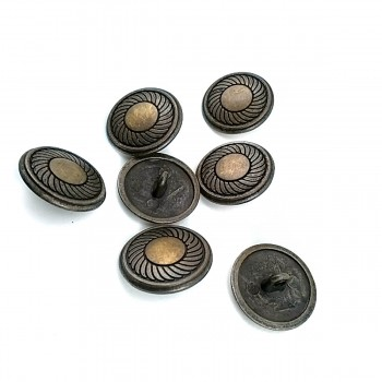 20 mm - 32 L Classic Patterned Metal Shank Button E 117