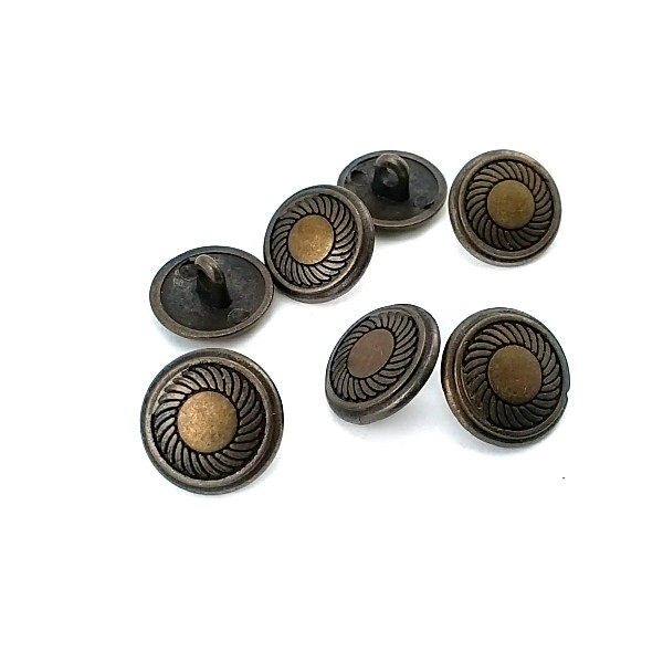 15 mm - 24 L Classic Patterned Metal Shank Button E 118
