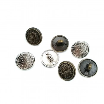 Patterned Metal Foot Button 15 mm - 24 size E 122