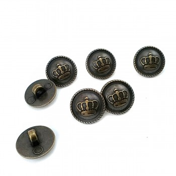 14.7 mm - 24 size Crown Logo Footed Metal Button E 1557