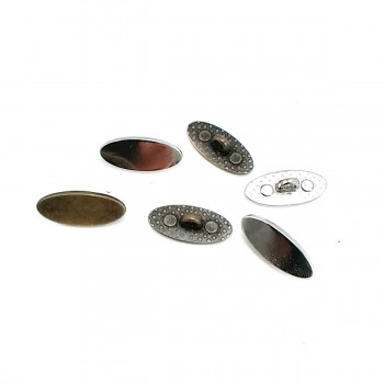20mm x 9mm Oval Metal Foot Button E 1604
