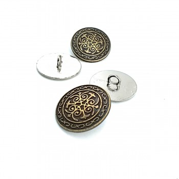 20 mm - 31 length Embroidered metal jacket button E 17