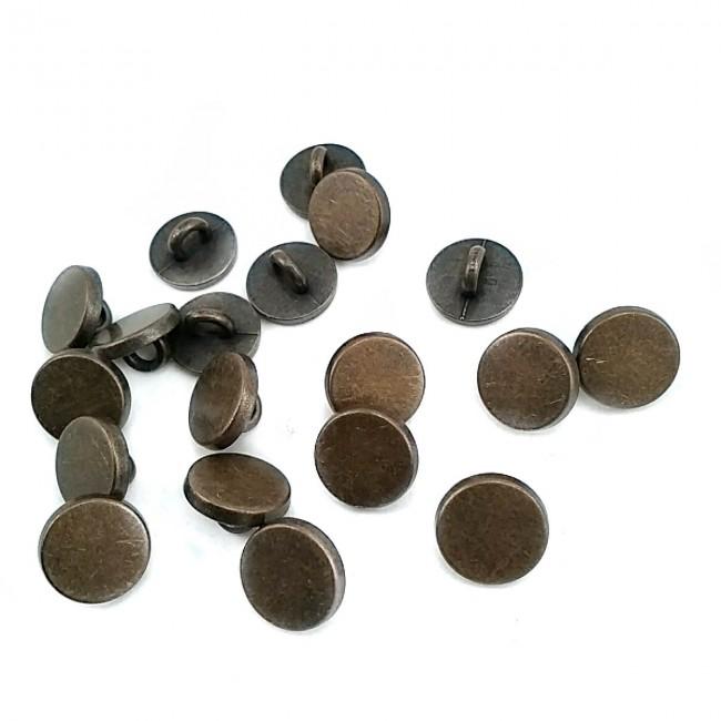 10 mm - 16 boy Düz Para Şekil Metal Ayaklı Düğme E 1987