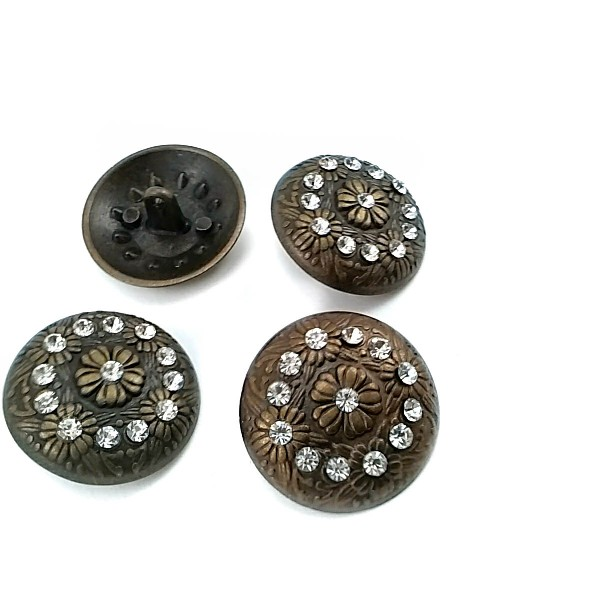 28 mm - 44 L Stone and Flower Patterned Metal Shank Button  E 398