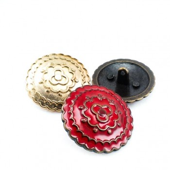 Patterned red oversized coat button 30 mm - 48 size E 537