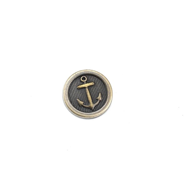 Anchor Patterned Metal button 17 mm - 27 size E 910