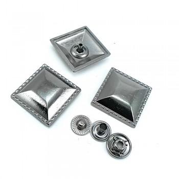 25 x 25 mm Metal square snap button B 76