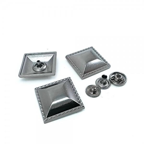 Metal square snap button 25 x 25 mm B 76