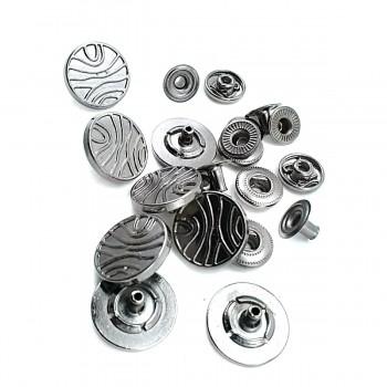 Wave Pattern Metal Snap Button Diameter 17 mm B 88
