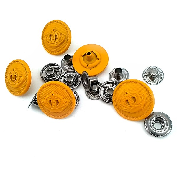 18 mm - 29 size Metal Crown Patterned Snap Button E 1466