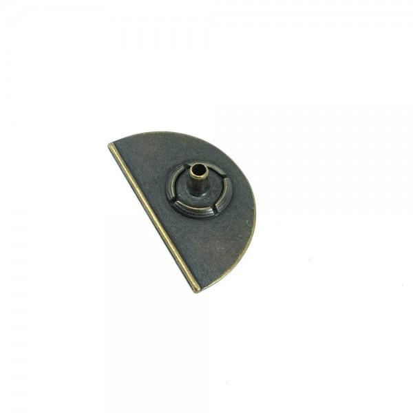 Half Moon shaped metal snap button 30 x 17 mm E 1579