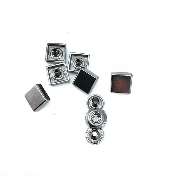 11 x 11 mm Square metal snap button E 1780