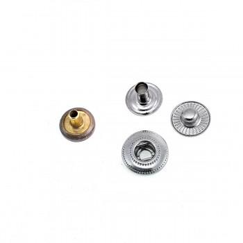 10 mm - 15 L Plain Metal Snap Button E 1876