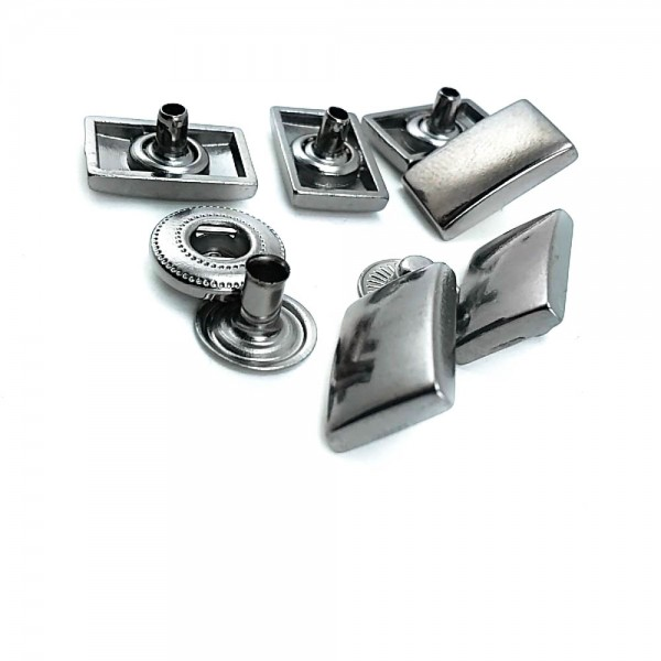 Metal snap button plain and rectangular shape 17 x 10 mm E 1948