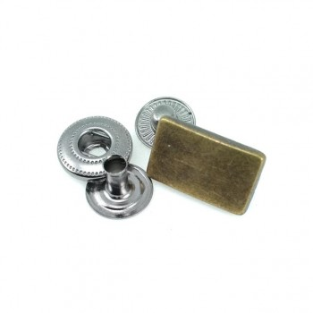 17 x 8 mm Metal snap button simple and rectangular shape E 220