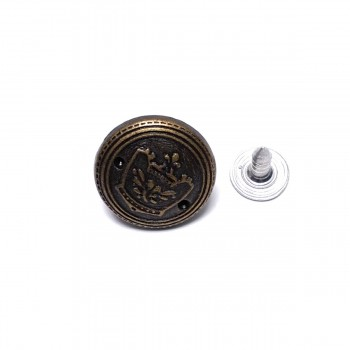 17 mm Crown Patterned Fastening Button E 1030