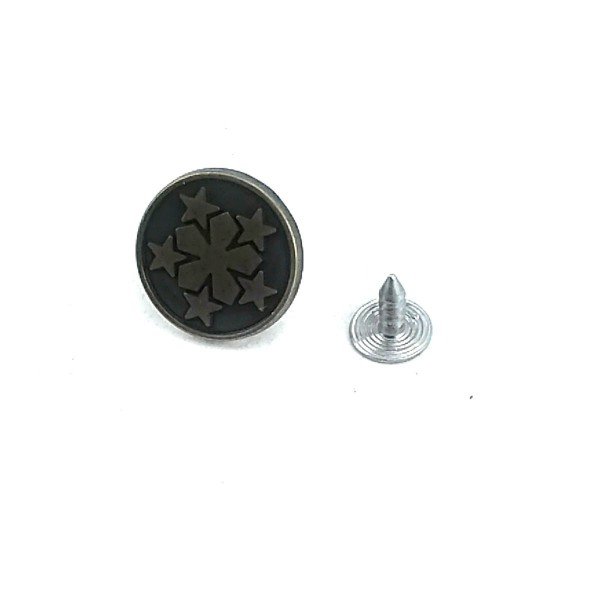 17 mm - 28 L Star Patterned Jeans Button E 1378