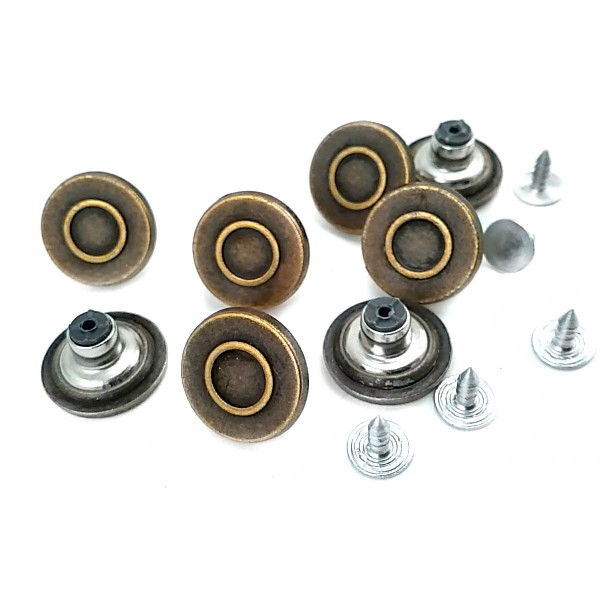 18 mm Ring Pattern Jeans Button E 1546