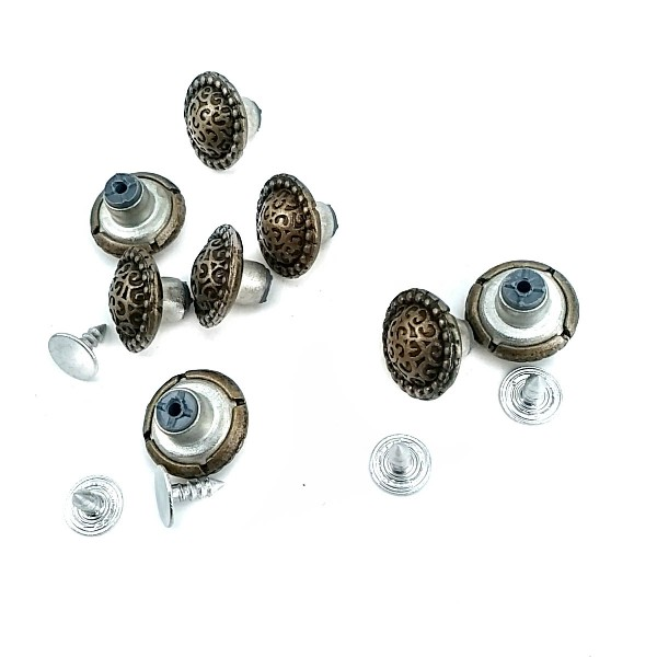 15 mm - 24 Size Convex and Patterned Jeans Button E 580