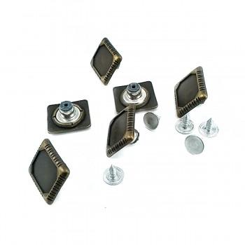 17.5 mm-19.7mm Rectangular Metal Jeans Button E 855