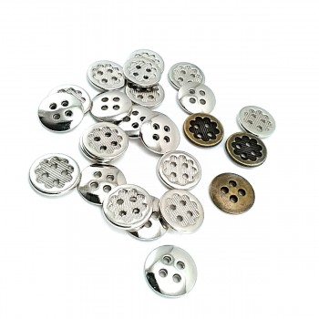 15 mm - 24 Lignes  Metal button post four holes E 1278