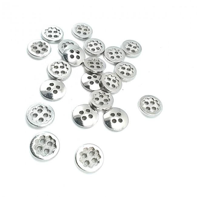 11 mm - 18 boy Çiçek Tasarımlı Çizgili Dört Delikli Dikme Düğme E 1431
