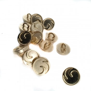 10 mm - 16 L Patterned metal button with two holes E 2051
