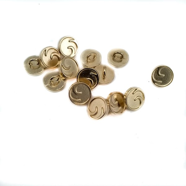 Patterned metal button with two holes 10 mm - 16 L E 2051