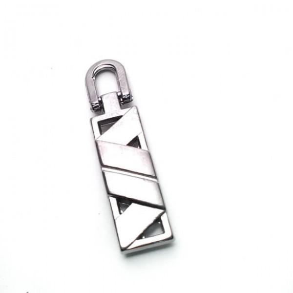 Metal Zipper Pull Handle - Geometric Pattern 33 mm E 1708