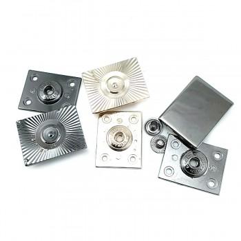 32 x 25 mm Patterned Rectangular Metal Snap Button EK 1701