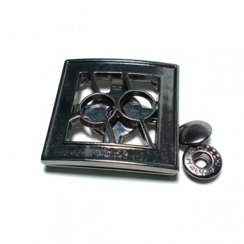 42 x 42 mm Patterned and stylish metal snap button  E 1310