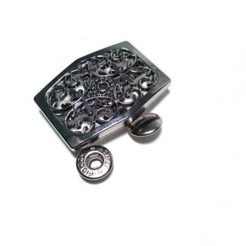 Stylish patterned metal snap button 45 x 32 mm E 1564