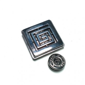 Square double piece snap button 30 x 30 mm Е 1757