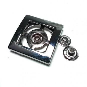 Metal Double Piece Snap Button Button Square Shape 32 x 32mm E 1831