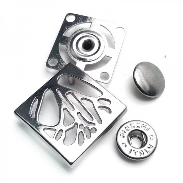 Metal square snap button button 4 piece set