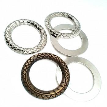 30 mm Snake Patterned Metal Ring Buckle E 357