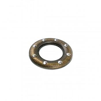 """20 mm Glass Stone Metal """"O"""" Buckle E 514"""
